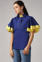 Load image into Gallery viewer, Blue Piping Detailed Double Frill Sleeve Top Side