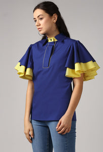 Blue Piping Detailed Double Frill Sleeve Top Side