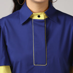 Blue Piping Detailed Double Frill Sleeve Top Detail