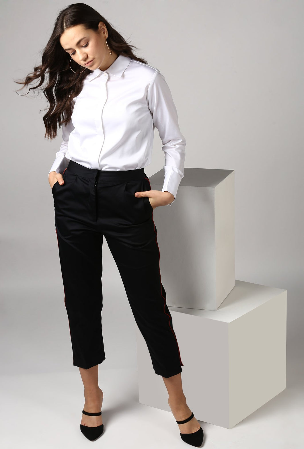 Black Pants With Red Piping Detail Crop