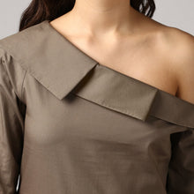 Load image into Gallery viewer, Olive Pleated Cascading Collar Layered One Shoulder Dress Detail