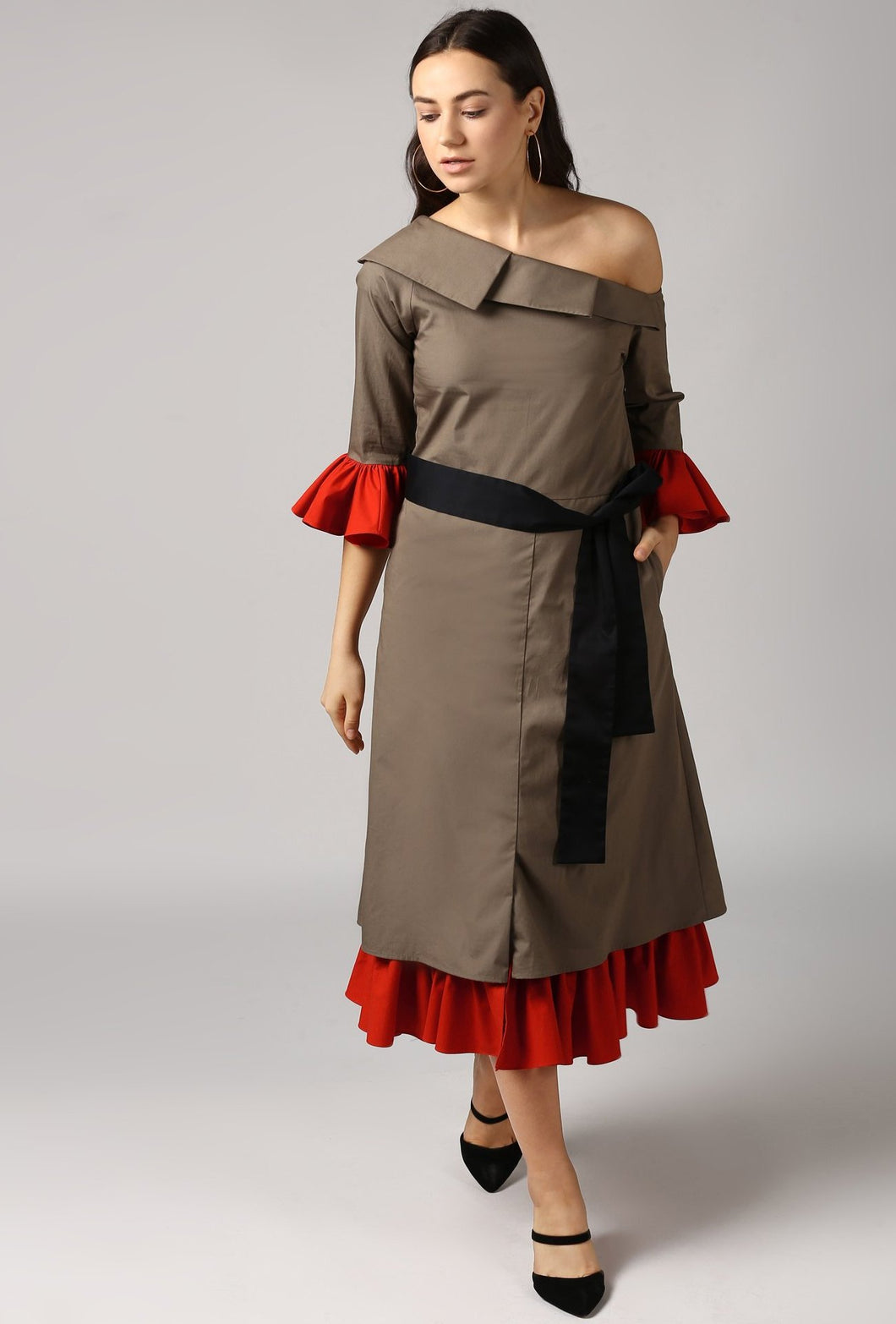 Olive Pleated Cascading Collar Layered One Shoulder Dress Style
