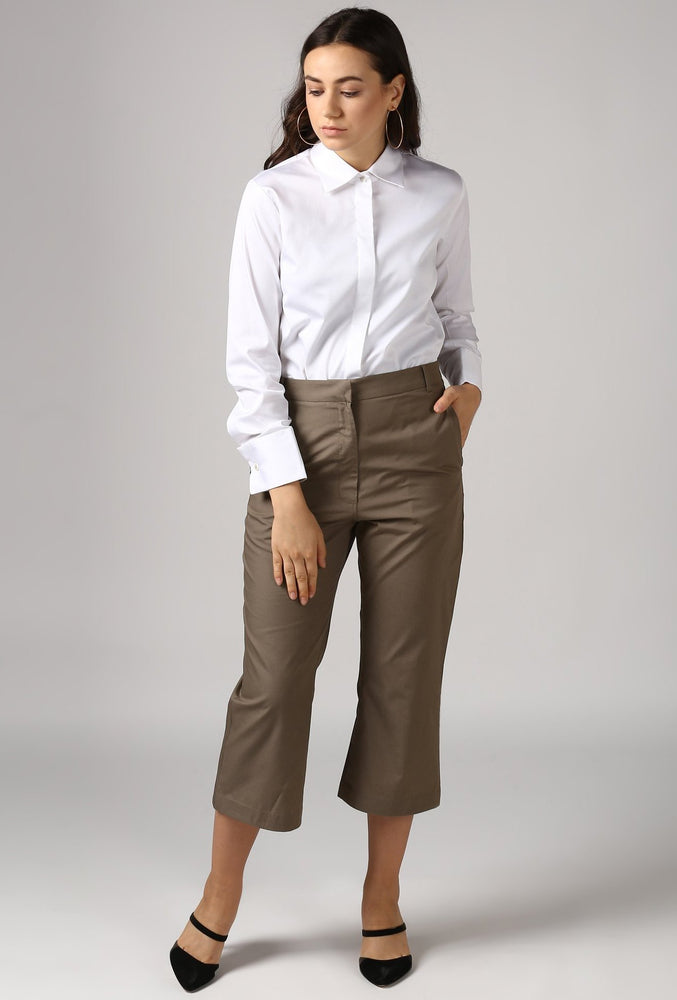 Olive Wide Legged Culotte Pants Style