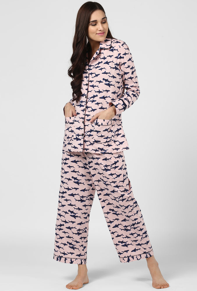 Pink Printed Pajama Party Night Suit