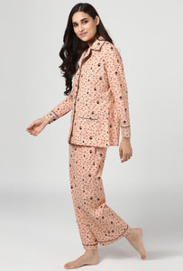 Salmon Print Midnight Musings Night Suit