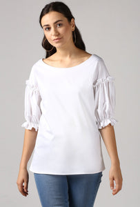 Snow White Boat Neck Frill Sleeve Top Crop