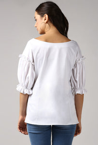 Snow White Boat Neck Frill Sleeve Top Back