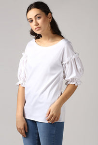 Snow White Boat Neck Frill Sleeve Top Side
