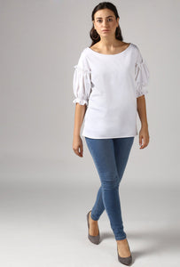 Snow White Boat Neck Frill Sleeve Top Style