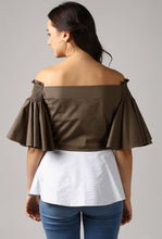 Load image into Gallery viewer, Stripe Front Pleat Frilled Sleeve Peplum Off Shoulder Top Back