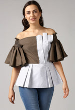 Load image into Gallery viewer, Stripe Front Pleat Frilled Sleeve Peplum Off Shoulder Top Crop