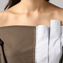Load image into Gallery viewer, Stripe Front Pleat Frilled Sleeve Peplum Off Shoulder Top Detail