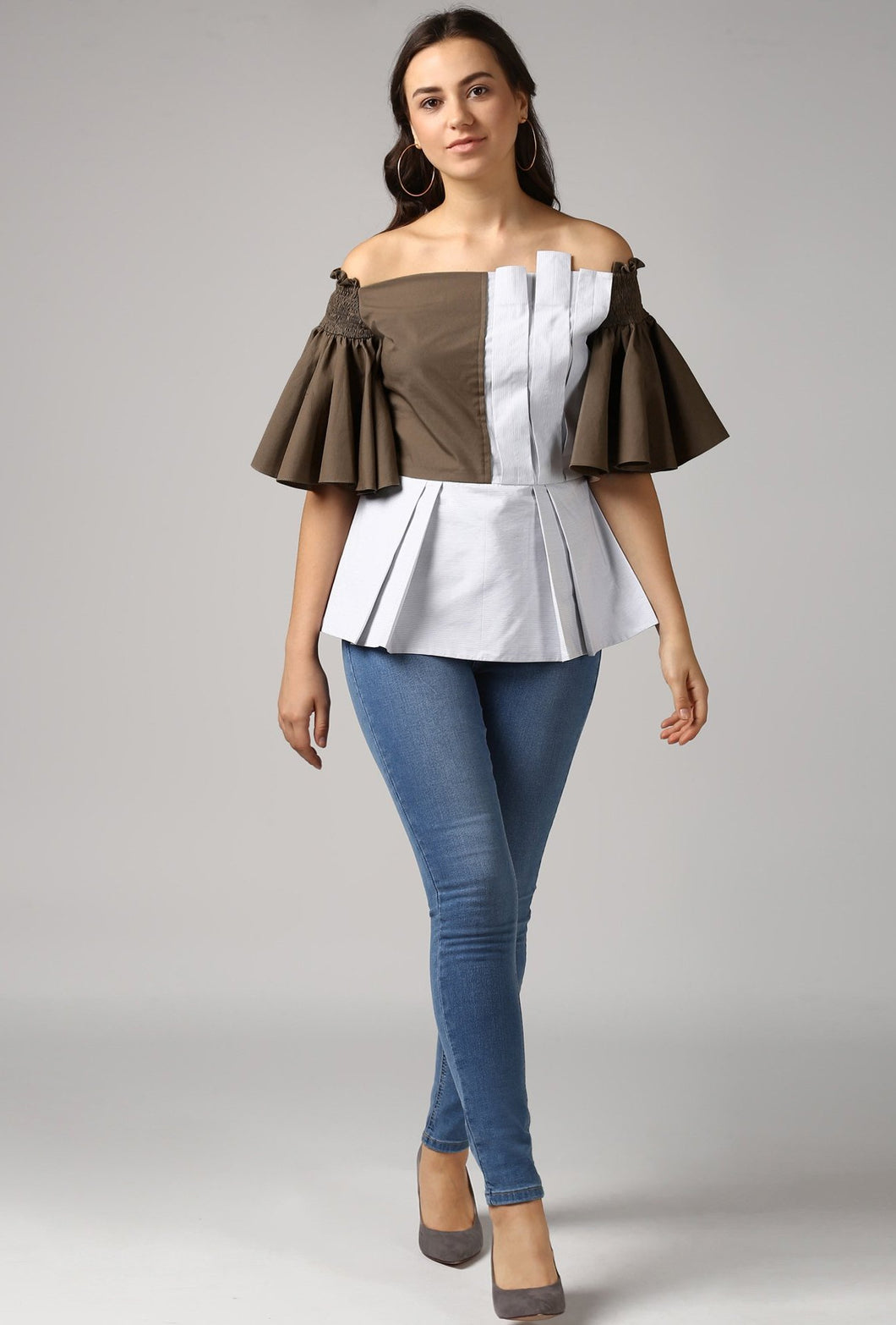 Stripe Front Pleat Frilled Sleeve Peplum Off Shoulder Top Style