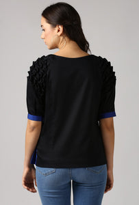 Textured Black Front Pleat Raglan Sleeve Top Back