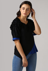 Textured Black Front Pleat Raglan Sleeve Top Crop