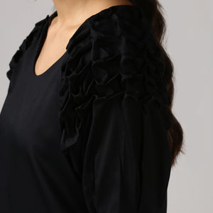Textured Black Front Pleat Raglan Sleeve Top Detail