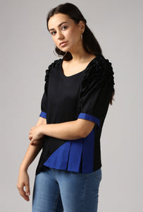 Textured Black Front Pleat Raglan Sleeve Top Side