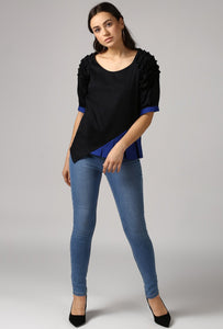 Textured Black Front Pleat Raglan Sleeve Top Style
