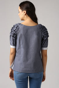 Textured Chambray Front Pleat Raglan Sleeve Top Back