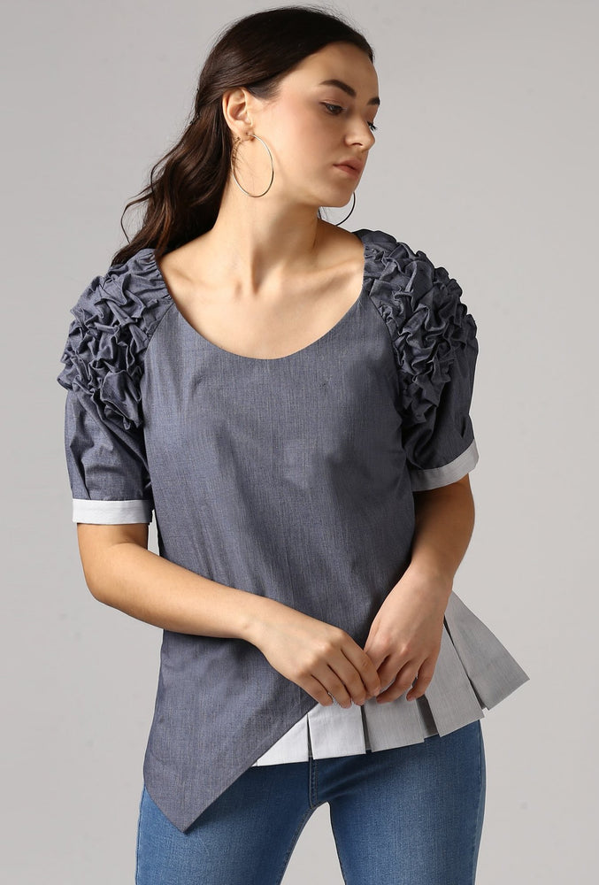Textured Chambray Front Pleat Raglan Sleeve Top Crop