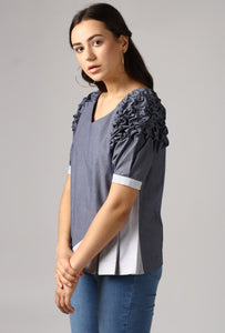 Textured Chambray Front Pleat Raglan Sleeve Top Side