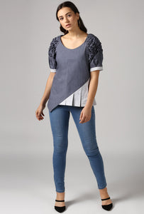 Textured Chambray Front Pleat Raglan Sleeve Top Style