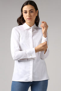 White French Cuff Tailored Shirt Crop