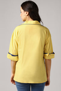 Lemon Yellow Rolled Sleeve V Neck Piping Lapel Collar Top Back