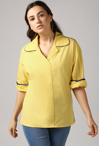 Lemon Yellow Rolled Sleeve V Neck Piping Lapel Collar Top Crop