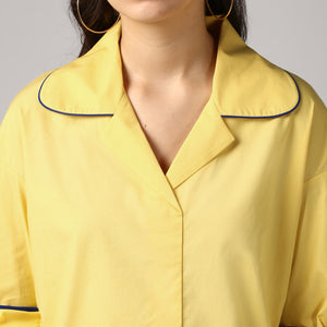 Lemon Yellow Rolled Sleeve V Neck Piping Lapel Collar Top Detail