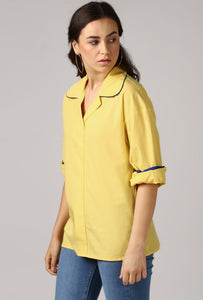 Lemon Yellow Rolled Sleeve V Neck Piping Lapel Collar Top Side