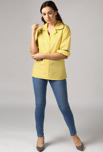 Lemon Yellow Rolled Sleeve V Neck Piping Lapel Collar Top Style