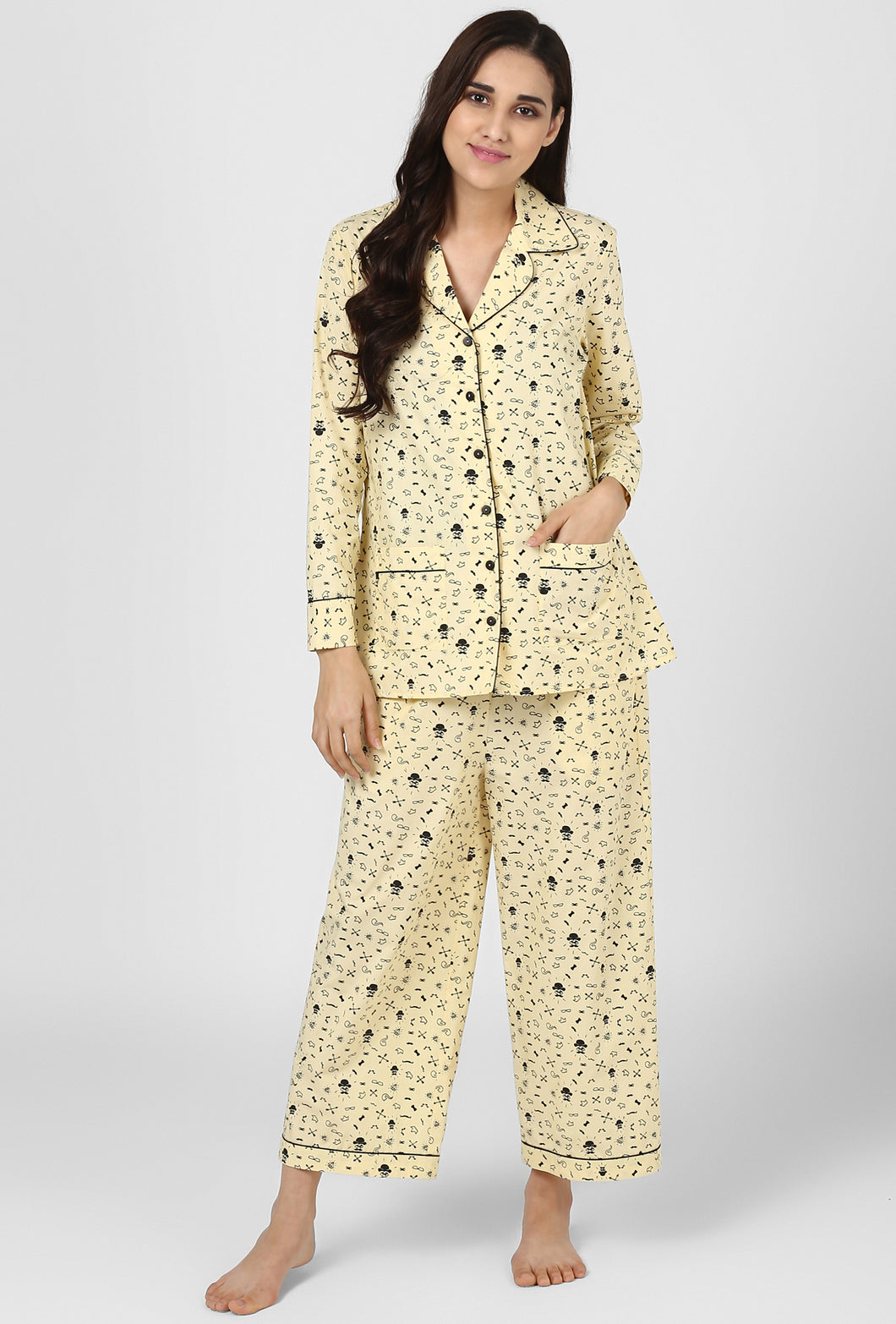 Yellow Print Midnight Musings Night Suit