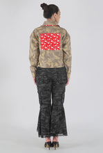 Load image into Gallery viewer, Beige Camouflage Swan Appliqued Denim Jacket back