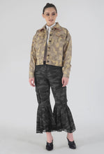 Load image into Gallery viewer, Beige Camouflage Appliqued Denim Jacket crop
