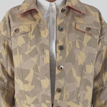 Load image into Gallery viewer, Beige Camouflage Appliqued Denim Jacket