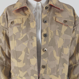 Beige Camouflage Appliqued Denim Jacket