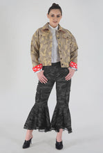 Load image into Gallery viewer, Beige Camouflage Appliqued Denim Jacket style