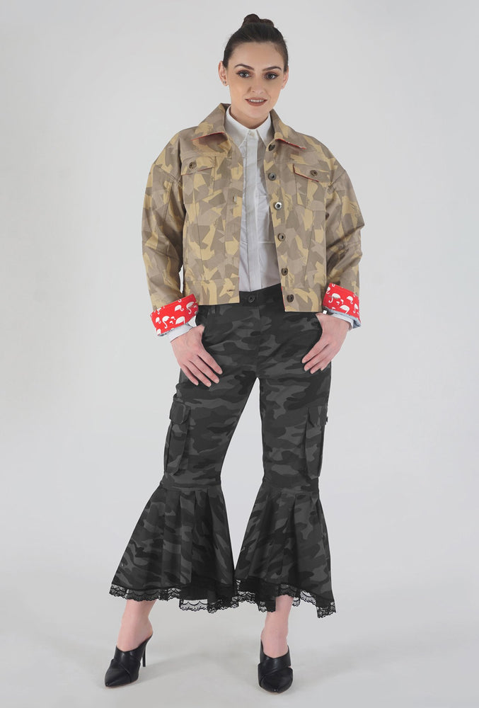 Beige Camouflage Appliqued Denim Jacket style