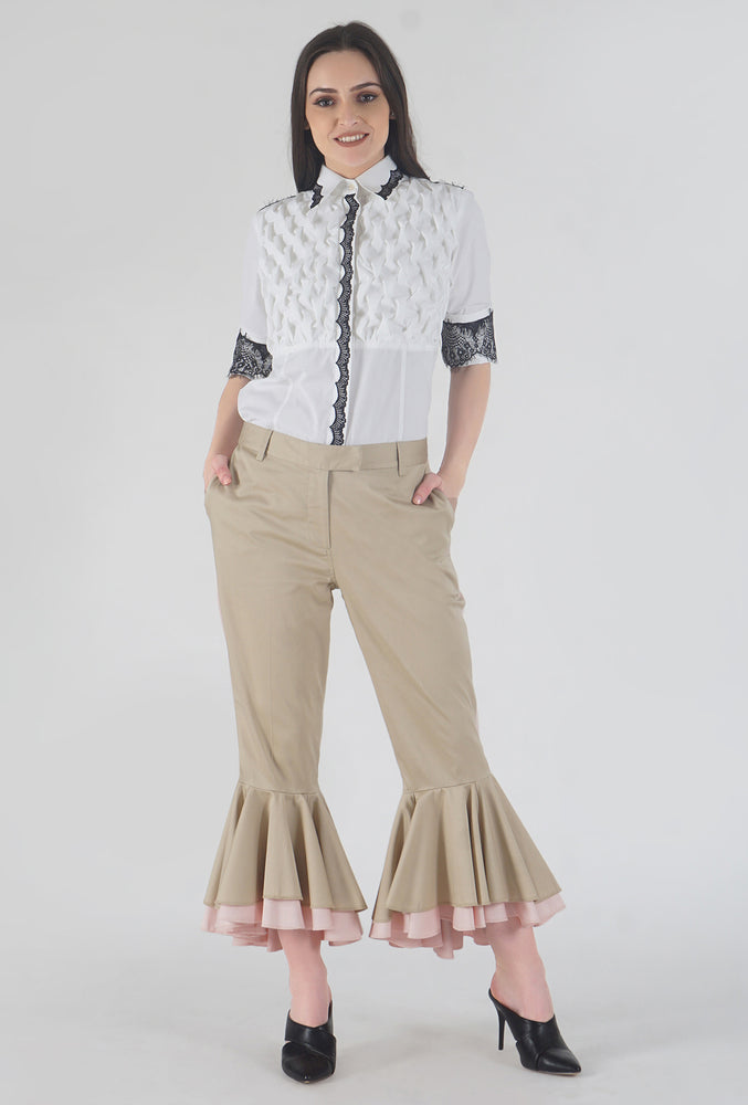 Beige Cascading Ruffle Stripe Detailed Pants style
