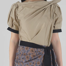 Load image into Gallery viewer, Beige Draped Asymmetrical Midi Dress detail