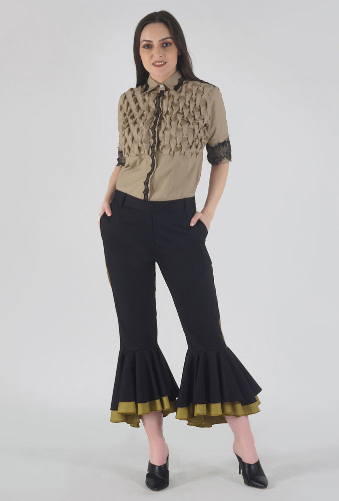 Black Cascading Ruffle Stripe Detailed Pants style