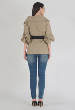 Load image into Gallery viewer, Beige Poplin Notch Collar Crushed Sleeve Top back