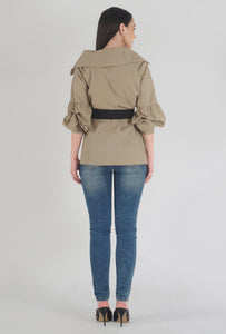 Beige Poplin Notch Collar Crushed Sleeve Top back