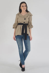 Beige Poplin Notch Collar Crushed Sleeve Top crop