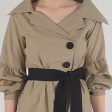 Load image into Gallery viewer, Beige Poplin Notch Collar Crushed Sleeve Top detail