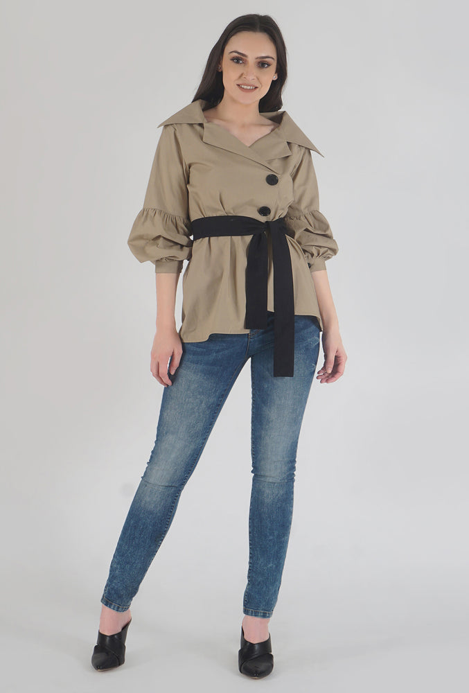 Beige Poplin Notch Collar Crushed Sleeve Top style