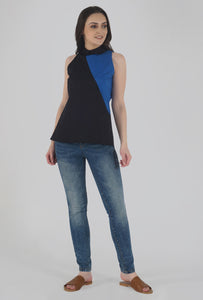 Black Color-Block Collared Sleeveless Top crop