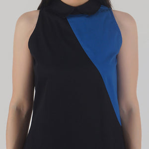 Black Color-Block Collared Sleeveless Top detail