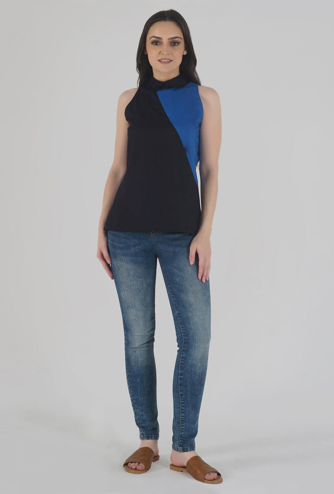 Black Color-Block Collared Sleeveless Top style